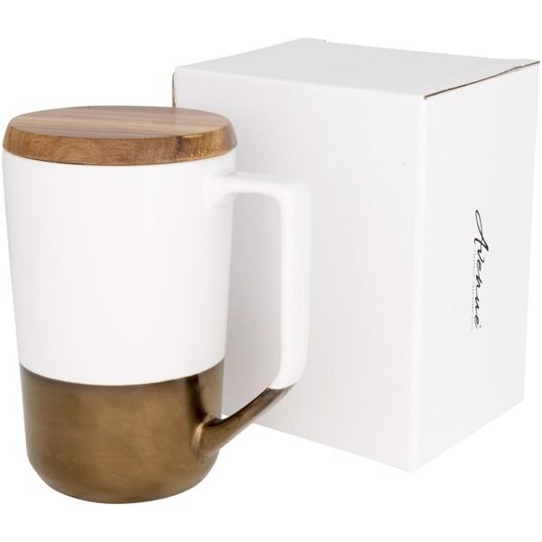Tahoe keramický hrnek na čaj a kávu s dřevěným víčkem